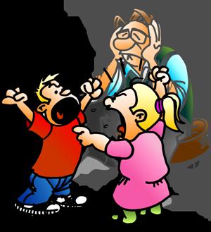 Far med kranglende barn