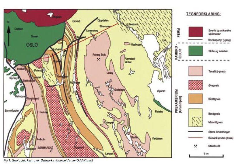 geologisk kart over oslo BERGGRUNNEN I ØSTMARKA – geologi til glede og besvær   Østmarkas  geologisk kart over oslo