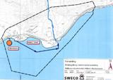 Kart over Møllenes industripark, med foreslått plassering av marina