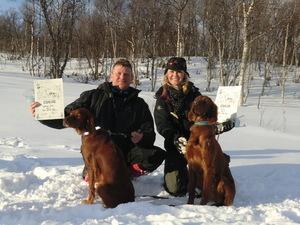 Hege med Tixi og Bjørnar med Adine
