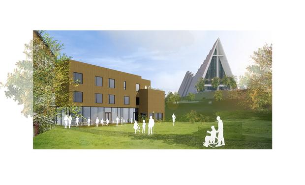 Her vises nye Otium, med usikt opp mot Ishavskatedralen. Illustrasjon: HRTB