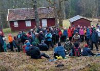 Lasse Dybdahl. 130 markavenner fulgte Sverre M. Fjelstad og Østmarkas Venner inn til Dølerud.