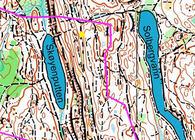 Oslo Utmark. Kunstverkene som lanseres 30. mai befinner seg i området nær Skøyenputten og Solbergvann, ved det røde og det gule punktet.