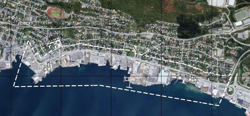 Flyfoto av området med planavgrensning.