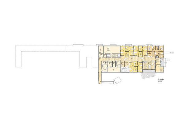 Plantegning for 1. etasje i størrelsesforhold 1:500.