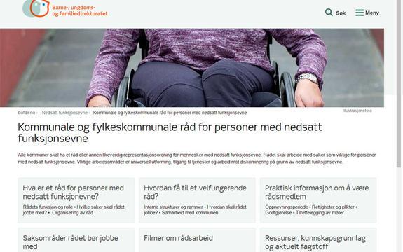 Skjermbilde av Bufdirs side om råd for funksjonshemmede