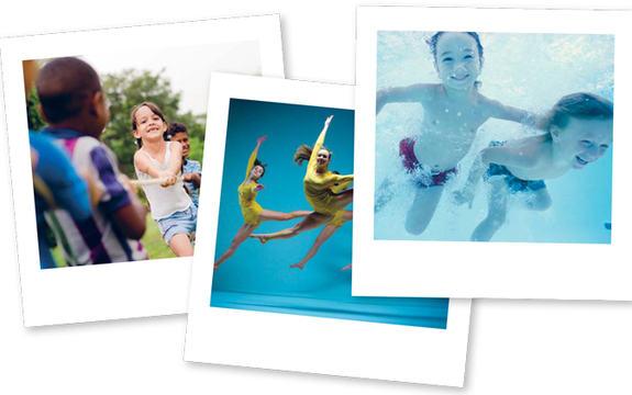 Tre polaroidbilder av barn engasjert i ulike fritidsaktivteter