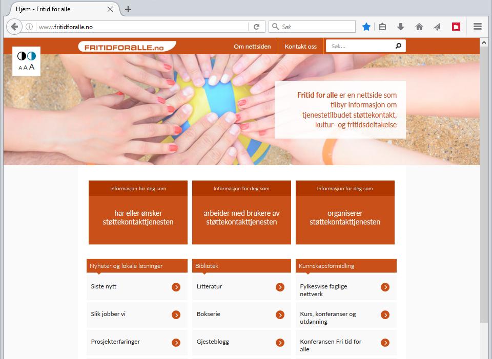 Skjermbilde av nettsiden til knutepunktet Fritid for alle