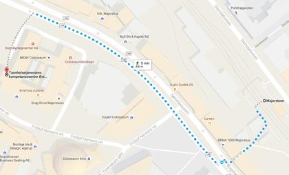 Kart fra Majorstuen til TkØ
