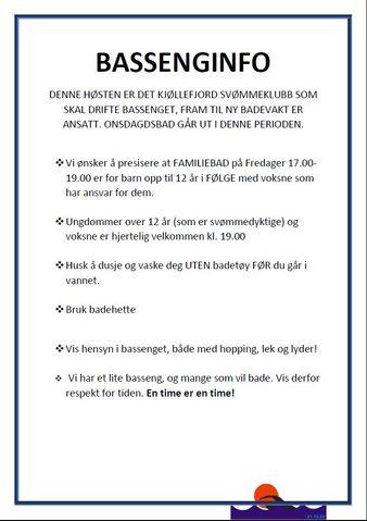Plakat om bassenginformasjon