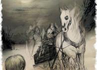Johan Andersen fra Bysetra ble fælen da han møtte et gravfølge av dauinger på Vangenveien i 1869. Tegning: Elise Otterlei.