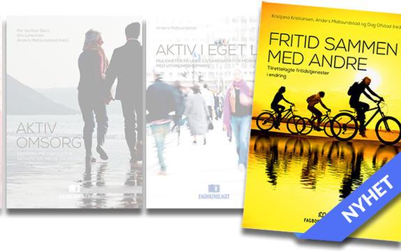 Bilde av omslag i bokserien, fremhevet Fritid sammen med andre