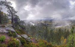 I dag lettet skodda over nasjonalparken! Elvestuen starter kartlegging av verneverdiene i dette område. Foto: Vidar Svarttjernet.