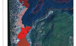 Her er et kart som viser hvilke områder det skal gjøres sedimenttiltak i Harstad havn.