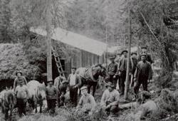 Tømmerkjørere ved Grindern i 1910
