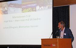 – Det er ikke nok å ha en markagrense – vi må også sikre det som er innenfor grensa, sa Johan Ellingsen i sitt innlegg på seminaret om Markaloven.
