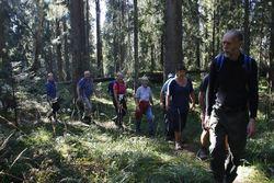 Sigmund Hågvar leder an langs stille stier på vei mot Tonekollen. Foto: