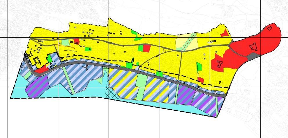 Planavgrensning for gjeldende Kommunedelplan for Stakkevollvegen–Tromsømarka og kommunedelplan for byutviklingsområde Stakkevollvegen (markert med stort stiplet strek).