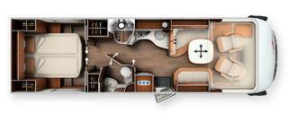 TOPPMODELLEN Highliner 62Q med queensbed, der soverommet praktisk kan deles helt av. Det samme kan man gjøre med baderommet.