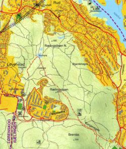 Kartutsnitt fra kommunens friluftslivskart fra 2000.