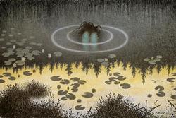 Maleren Theodor Kittelsens kunst har mange fellestrekk med Ragnhild Jølsens skildringer fra Østmarka. Illustrasjon: Nøkken. Nasjonalmuseet No.21. Licensed under Public Domain via Wikimedia Commons.