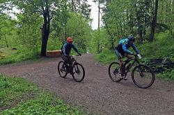 ØV mener at el-sykling kan bli tillatt på skogsveier som disse, men på stier i utmark og verneområder må el-syklene fortsatt være forbudt. Foto: Privat