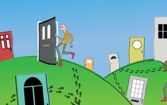 Illustrasjon av mange dører man kan velge mellom