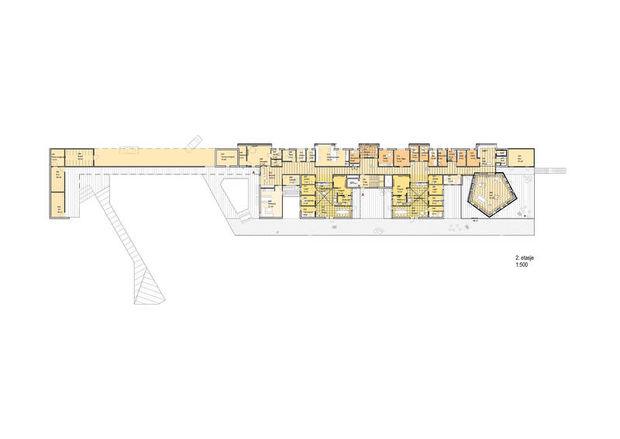 Plantegning for 2. etasje i størrelsesforhold 1:500.