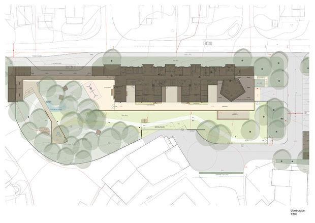 Plan for uteområdet i størrelsesforhold 1:500.