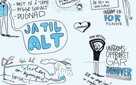 Tegninger fra omslaget til Regjeringens strategi for ungdomshelse