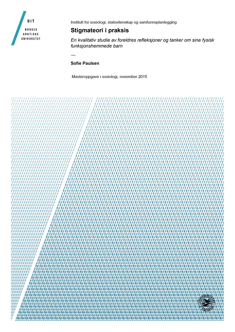 Bilde av omslaget til Mastergradsoppgaven Stigmateori i praksis