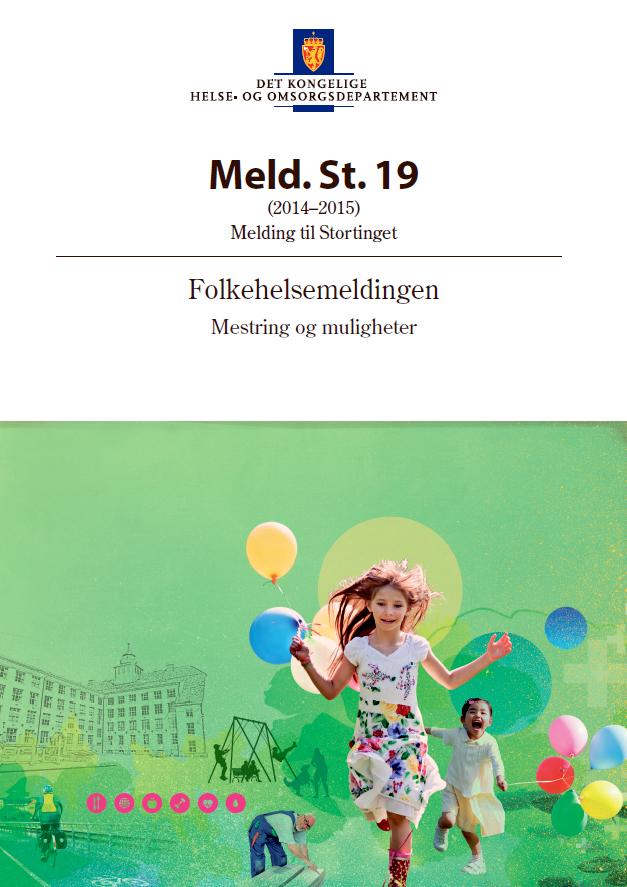 Omslagsbilde av Stortingsmelding nr. 19 Folkehelsemeldingen. Mestring og muligheter