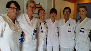 Noen av personalet som gleder seg til å ta i bruk planen, frra v. Monika Adolfsen, Pia Bjurstam-Antonsen, Ellen Liedstrand, June Olsen, Herdis Solhaug og Tanya Jacobsen