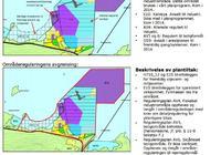 Tegning med beskrivelse av plnalagt regulerte områder i Fiskebøl