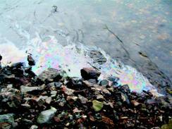 Oljefilm på vannflaten av elva Gaula