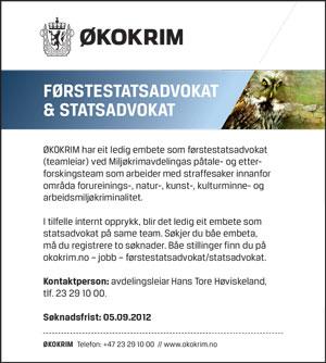 Annonse, stillingsutlysning, design: Lillian Nordby Øktner