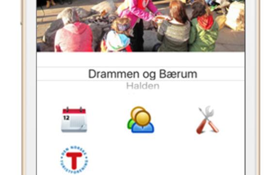 Bilde av en mobiltelefon som viser appen til DNT