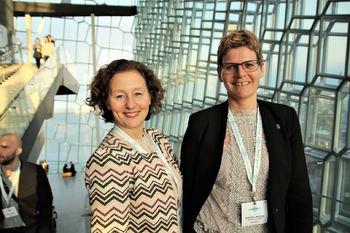 Kristin Røymo og Britt Elin Steinveg er fornøyde etter konferanse på Island. Foto: Maria Östensson/Tromsø kommune)