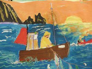 Maleri Finnkirka og fisker Galleri Christensen