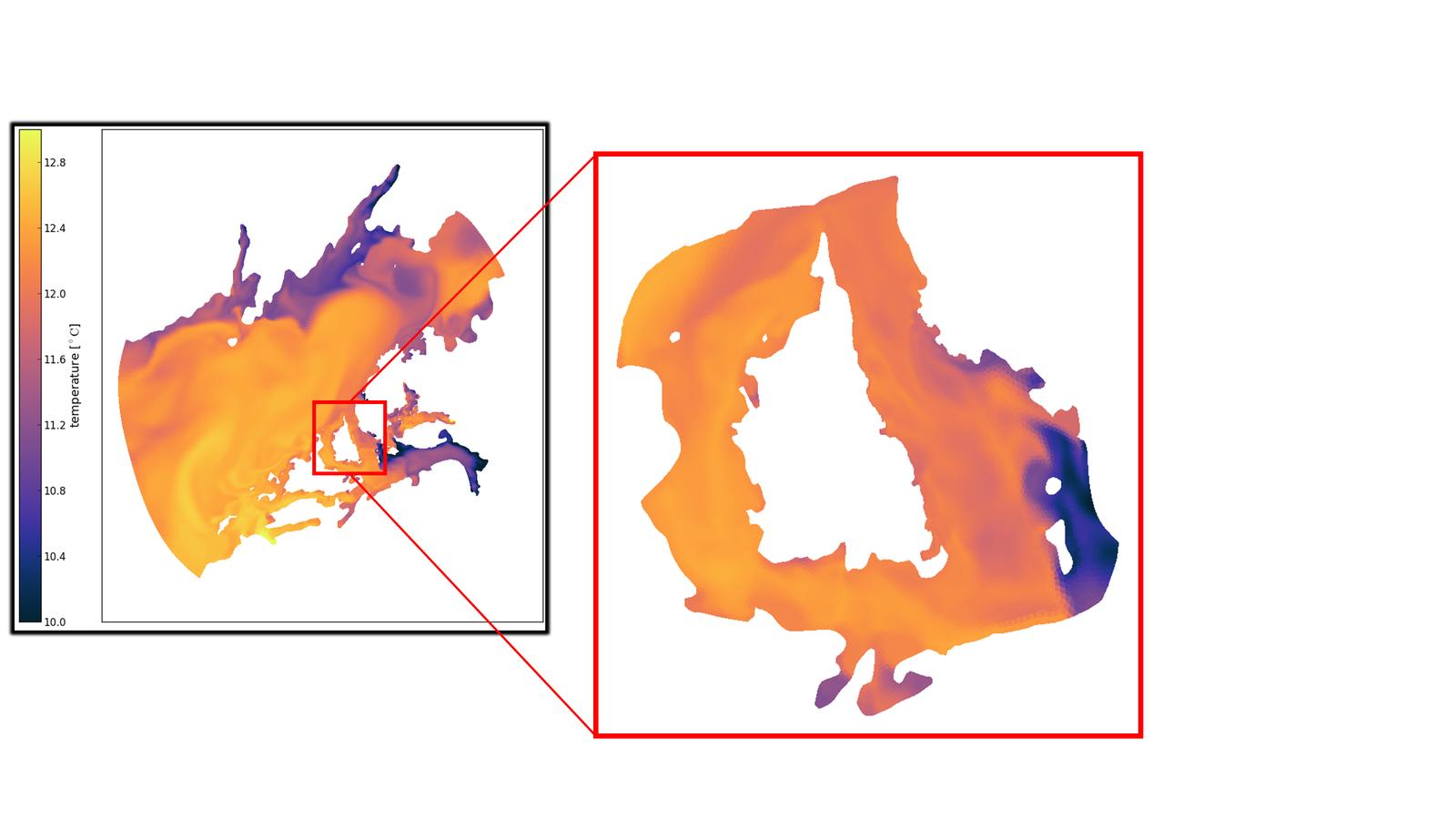 Figure 2: Snapshot of model surface temperature in Sagfjorden 15.09.2014