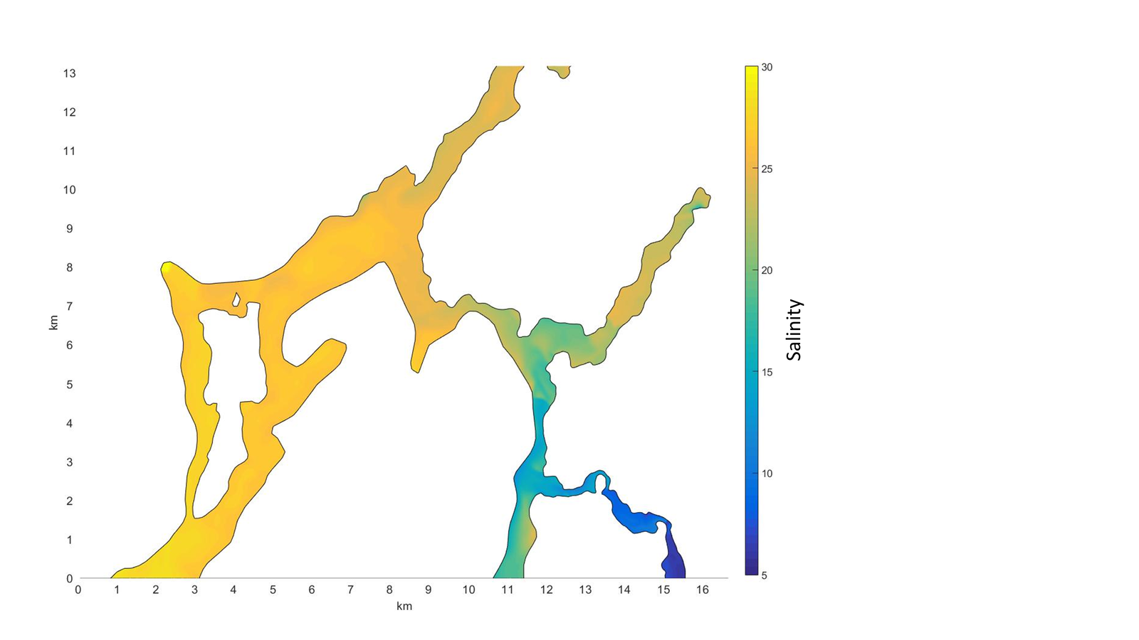 Figure 5: Example of daily mean surface salinity inpart of Osterfjorden 29.10.2013.