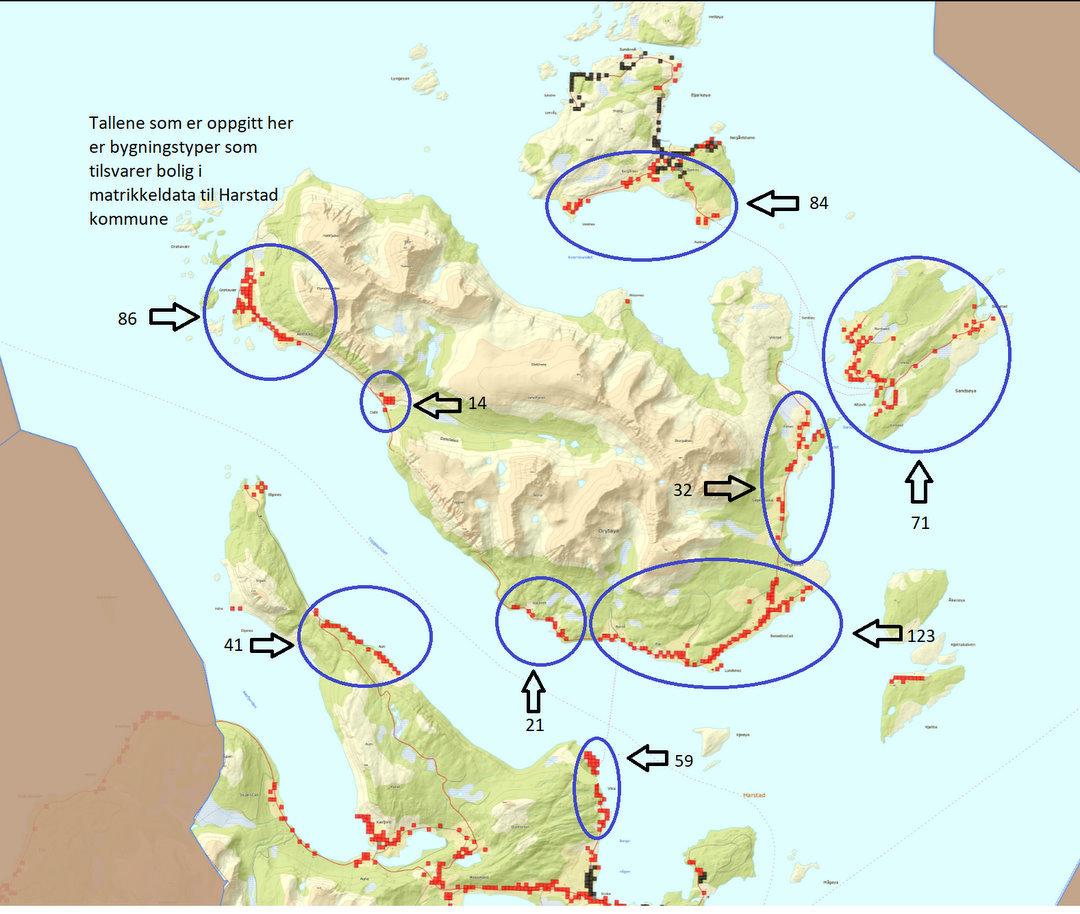 Kart over områder der bredbånd kan bli bygget ut i denne omgang.