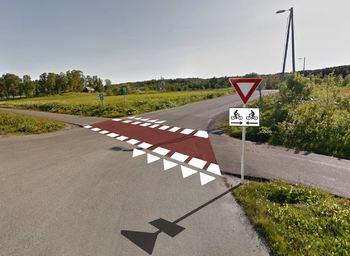 Oppmerking av sykkelvei Kvaløyvegen Holtvegen