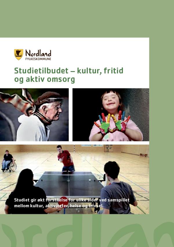 Omslagsbilde til brosjyren om studietilbudet kultur, fritid og aktiv omsorg