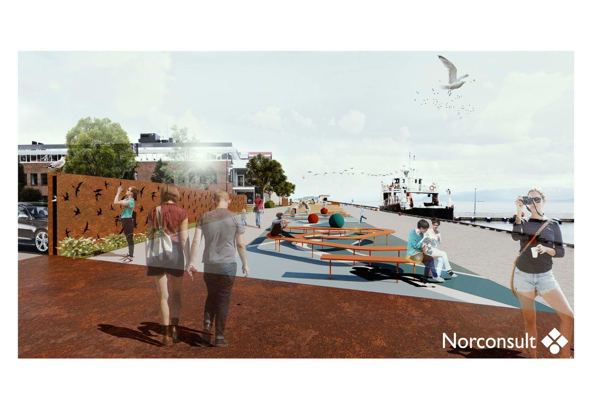 Skisse på hvordan det kan bli langs Havnepromenaden i Harstad