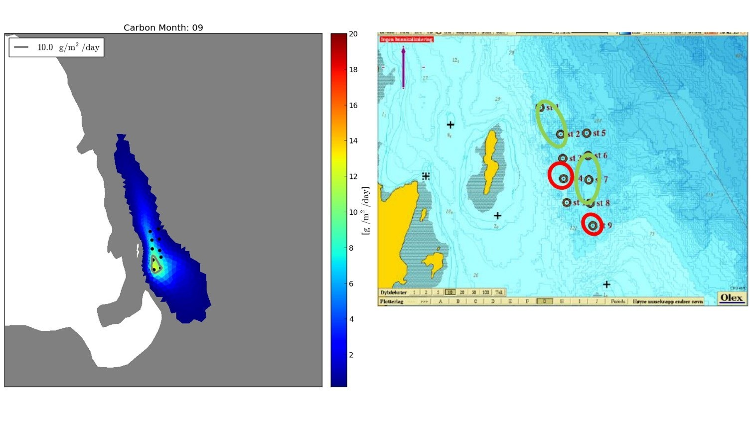 Figure 1:Comparison of sedimentation in model (left panel) and observed bottom conditions (right panel). The individual cages of the farm are indicated by black dots (left) and dark circles (right). Red circles (right panel) indicate grab samples with high amount of sediments. The model indicate higher sedimentation rates under the cages to the south and closer to land. This fish farm is located in Økssundet in Sagfjorden (Nordland).
