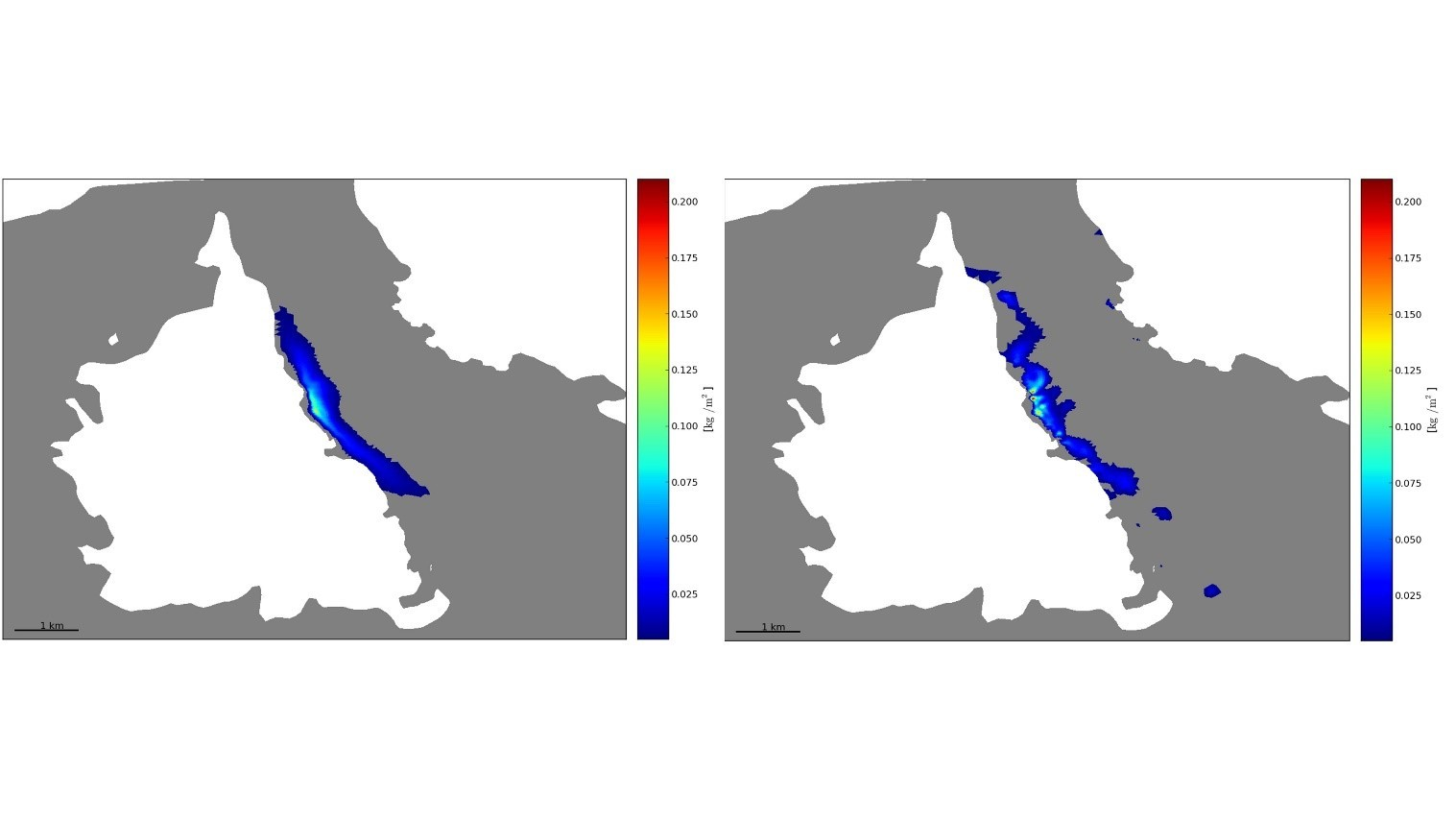 Figure 4: Modeled sediment concentration (kg/m2) at the bottom after 1 week of release from a fish farm in Økssundet. The panel to the right shows the result without resuspension and the right panel shows the result with resuspension.