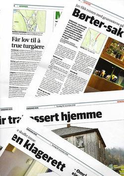 Enebakk Avis belyser konflikten i Ekebergdalen med en skarp lederartikkel og fire sider inne i papiravisa. (Faksimile)