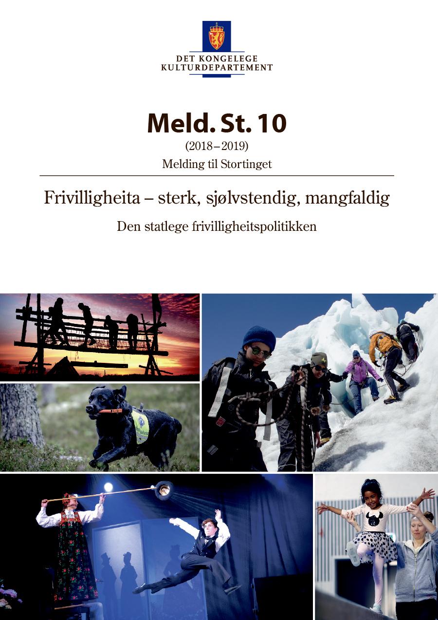 Bilde av omslaget til Meld. St. 10 (2018–2019) Den statlege frivilligheitspolitikken
