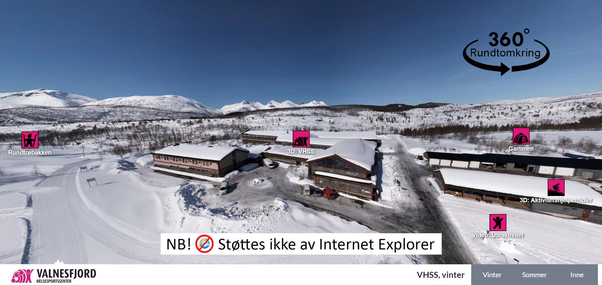 Oversiktsbilde over nærområdet rundt Valnesfjord Helsesportssenter, vinter
